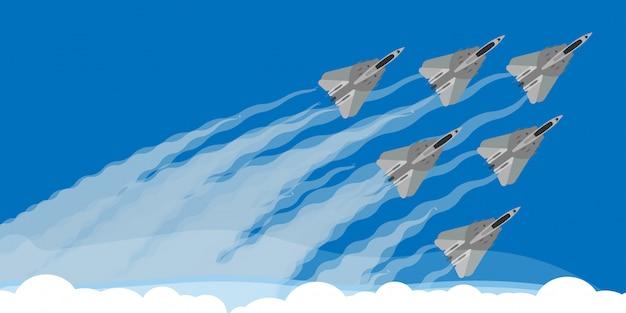 Воинский реактивный истребитель с иллюстрацией предпосылки следа дыма неба. авиашоу самолета летают акробатические выступления. скорость армейской команды, демонстрация навыка силы