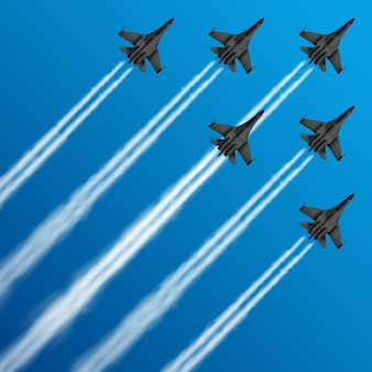 Military fighter jets with condensation trails in sky