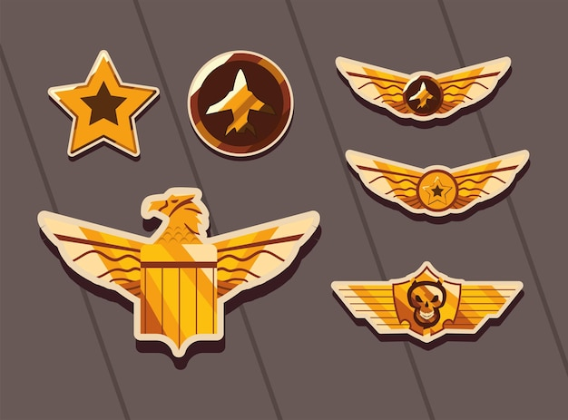 Military forces badges icon group