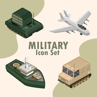 Military icon set include plane, tank, ship illustration