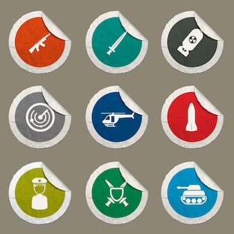 Military icons set for web sites and user interface