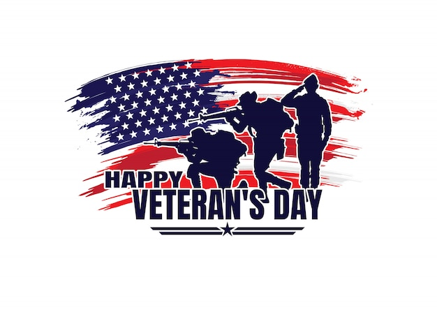 Военная иллюстрация, армейский фон, силуэты солдат, счастливый день ветеранов.