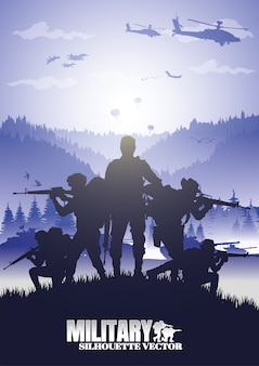 Military illustration, army background, soldiers silhouettes.