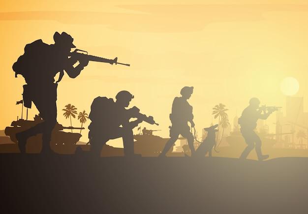 군사 그림, 육군 배경, 군인 실루엣.