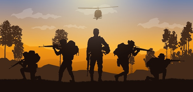 Military  illustration, army background.