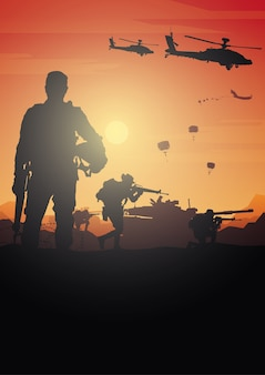 Военная иллюстрация, армейский фон.