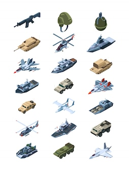 Military isometric. security guards in uniform soldiers with tanks all-terrain vehicle machine guns grenades shields  collection