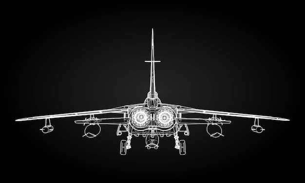 Military jet fighter silhouettes image of aircraft in contour drawing lines
