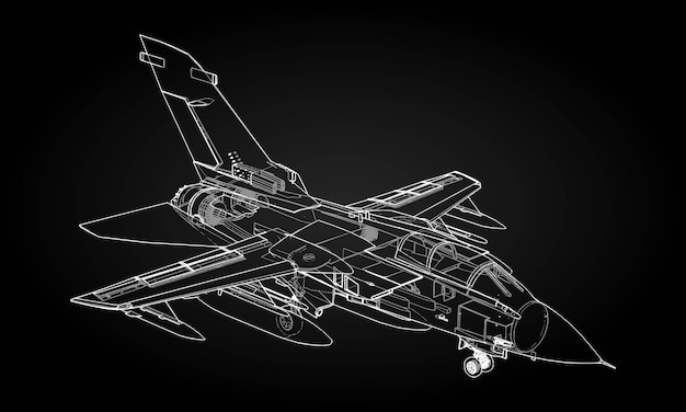 군사 제트 전투기 실루엣입니다. 등고선 그리기 항공기의 이미지입니다. 항공기의 내부 구조.