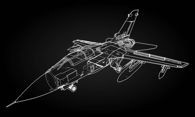 軍用ジェット戦闘機のシルエット。輪郭描画線での航空機の画像。航空機の内部構造。