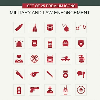 Military and law enforcement icons set vector