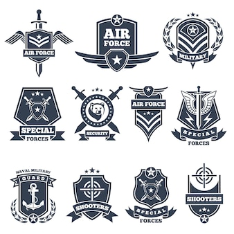Military logos and badges. army symbols isolated