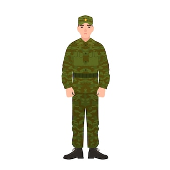 Military man of russian armed force wearing camouflage army uniform.