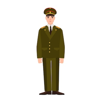 Military man of russian armed force wearing uniform. infantryman or serviceman