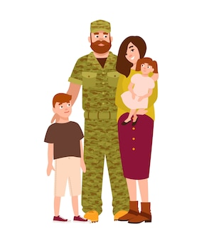 Military man, serviceman or soldier dressed in camouflage clothing, his wife and children