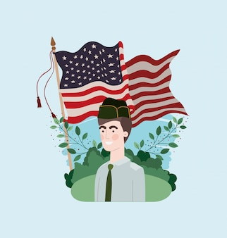 Military man with usa flag in the field