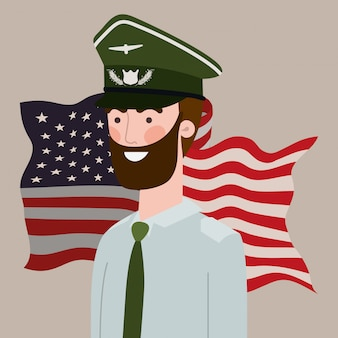Military man with usa map and flag