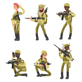Military man and woman cartoon characters isolated