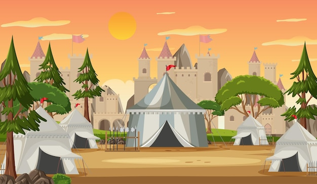 Military medieval camp with tents and castle