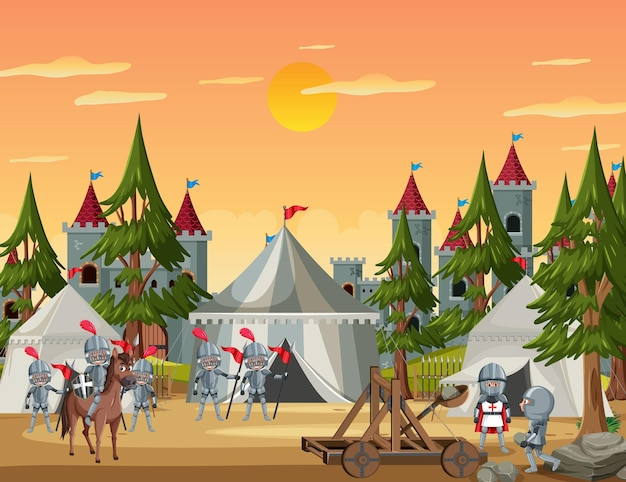 Military medieval camp with tents and warriors