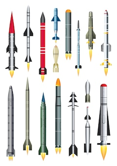 Military missile rocket isolated on white. ballistic intercontinental rocket with nuclear bomb.