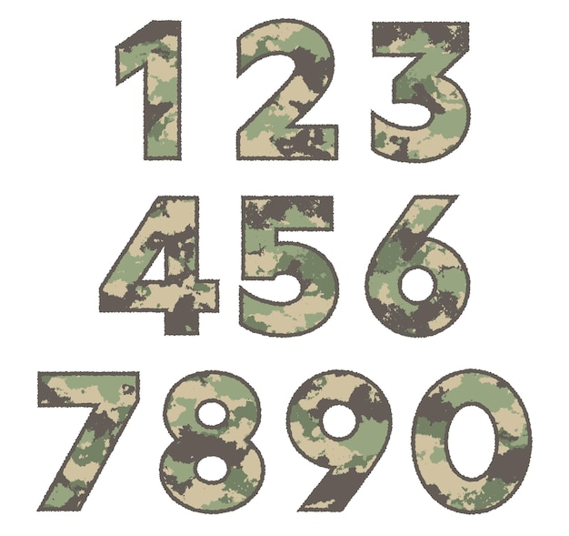 Military numbers in grunge style