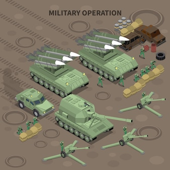Military operation with use of long range guns and self propelled howitzers isometric