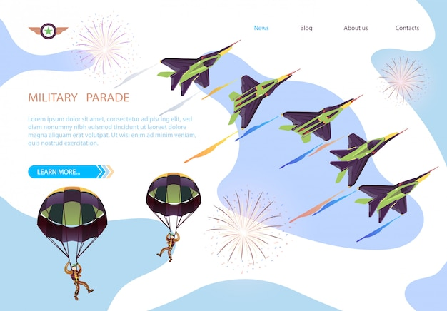 Military parade isometric banner with air show