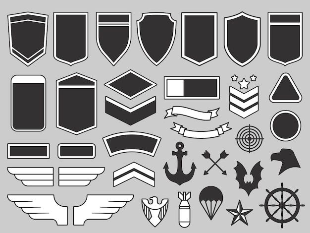 Military patches. army soldier emblem, troops badges and air force insignia patch design elements  set