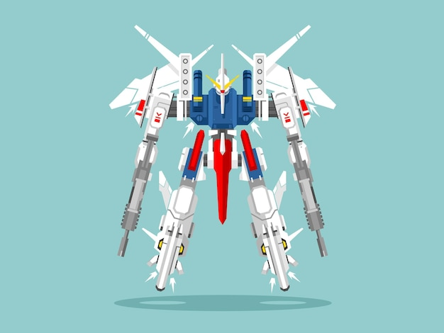 Военный робот-трансформер. металлический изолированный робот, игрушка, воин фэнтезийный киборг, футуристические технологии, механизм пулемет, иллюстрация