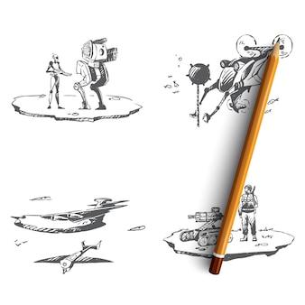 Military robots in battle, underwater sapper, roket attack, air drones illustration