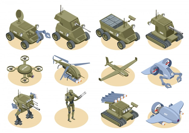 Military robots isometric icons set of underwater robot sapper air drones shooter tanks and trucks isolated
