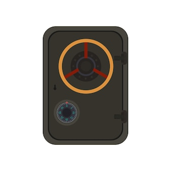Military safe. metal safe in a flat style. isolated. vector.