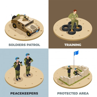 Military service 4 isometric icon set