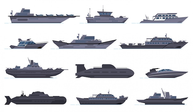 軍用船。バトルコンバットボート、ミサイル船、セキュリティボート、現代の軍艦、潜水艦、軍用武器の戦艦のアイコンを設定します。軍用船と船、強制船イラスト