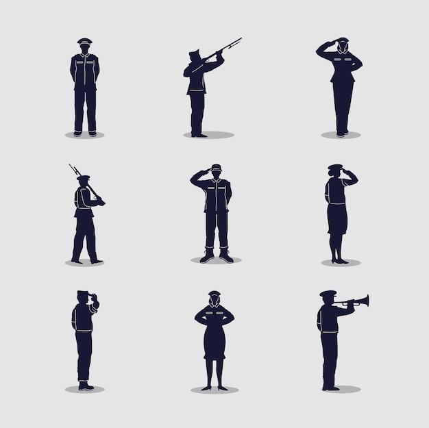軍の兵士の男性と女性のシルエット