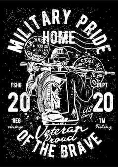 Military soldier, vintage illustration poster.