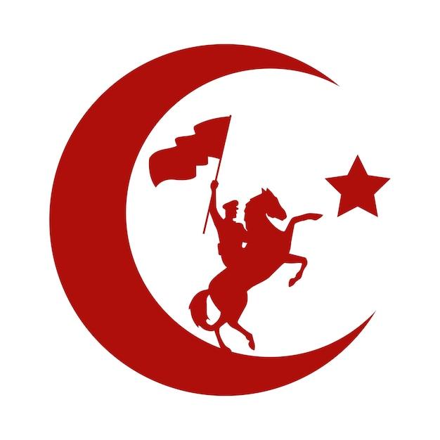 Военный солдат, размахивая флагом в дизайне векторной иллюстрации празднования лошади турции