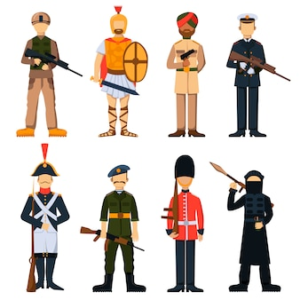 Military soldiers in uniform avatar character