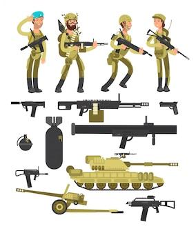 弾薬、銃および武器の分離されたコレクションを持つ軍事兵士