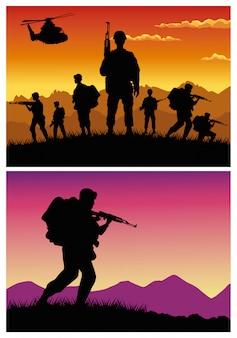 銃とヘリコプターのシルエットを持つ軍の兵士