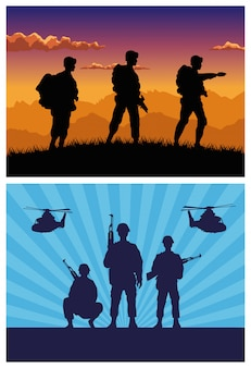 Military soldiers with guns and helicopters silhouettes
