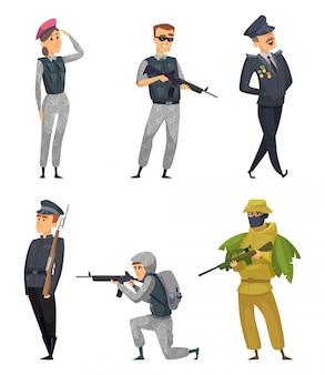 다양한 무기를 가진 군사 군인. 벡터 문자