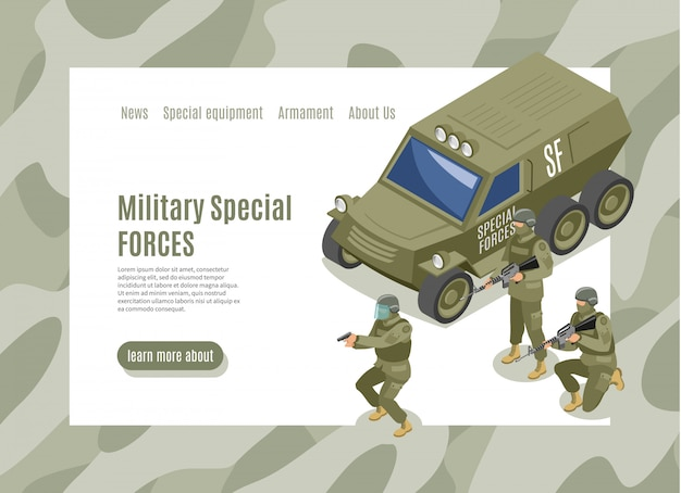 Military special forces landing page