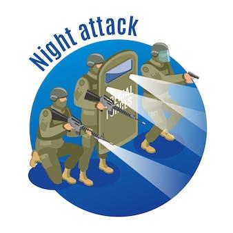 Военный спецназ с оружием и защитным снаряжением во время ночного нападения.