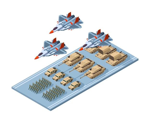 Military station in isometric view Premium Vector