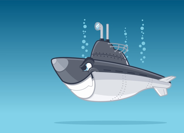 Military submarine underwater cartoon illustration