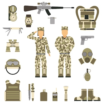 Military symbols design with weapon and uniform