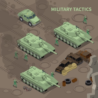 Military tactics isometric  illustrated soldiers with rifles advancing under cover of heavy military vehicles