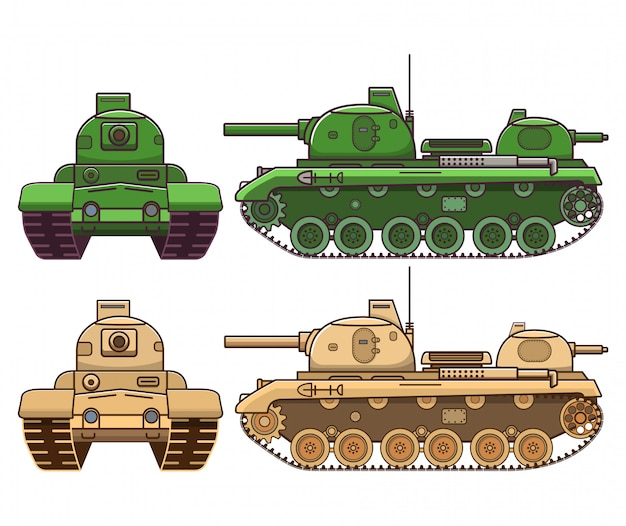 Military tank, armored artillery vehicle flat style.